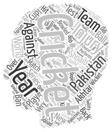 nominated: History of Pakistan Cricket s RawalPindi Express Shoaib Akhtar text background wordcloud concept Stock Photo