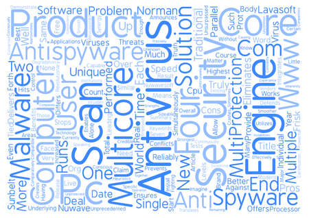 integrates: A new unique MultiCore AntiVirus AntiSpyware product Word Cloud Concept Text Background