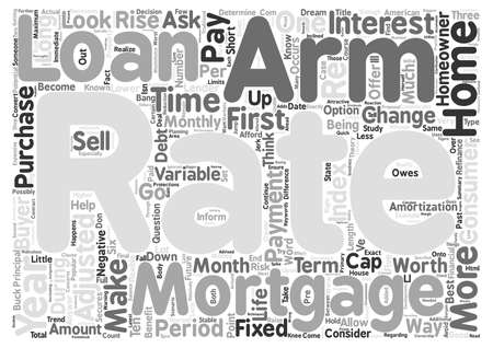 variable rate: Are Adjustable Rate Mortgages Worth It Word Cloud Concept Text Background Stock Photo