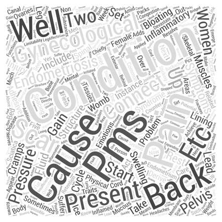 premenstrual syndrome: Gynecological Conditions and Back Pain Word Cloud Concept