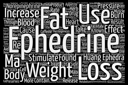 Ephedrine and Its Use In Weight Loss text background word cloud concept