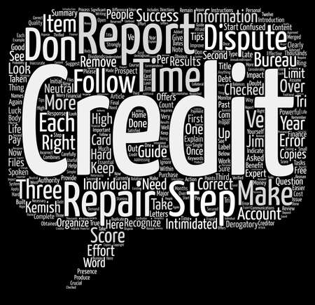 intimidated: Credit Repair Steps To Success Word Cloud Concept Text Background