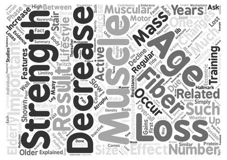 explained: Age Related Muscle Changes text background word cloud concept Stock Photo