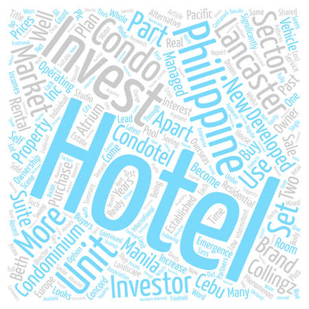 Condo Hotels New Hotel phenomenon set to sweep the Philippines text background word cloud concept Stock Photo