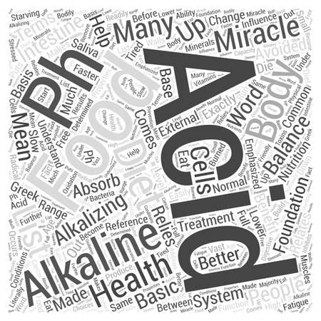 Acid and alkaline foods in the pH miracle diet Word Cloud Concept