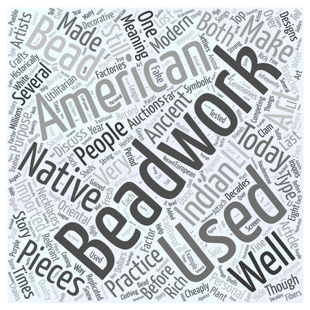 American Indian art auctions beadwork Word Cloud Concept Ilustrace