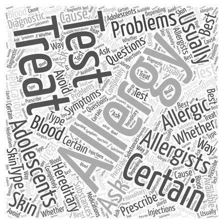 Allergies in Adolescents Word Cloud Concept Illustration