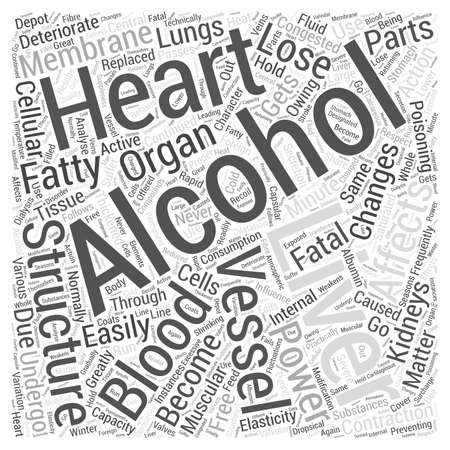 ACTION OF ALCOHOL ON INTERNAL ORGANS Word Cloud Concept