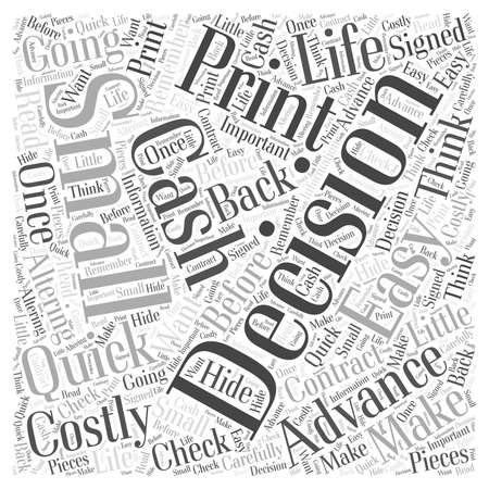 make money fast: Advance Cash Quick Easy and Costly Word Cloud Concept Illustration