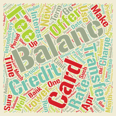Balance Transfers Primer text background wordcloud concept