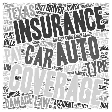 Auto Insurance Texas text background wordcloud concept Illustration