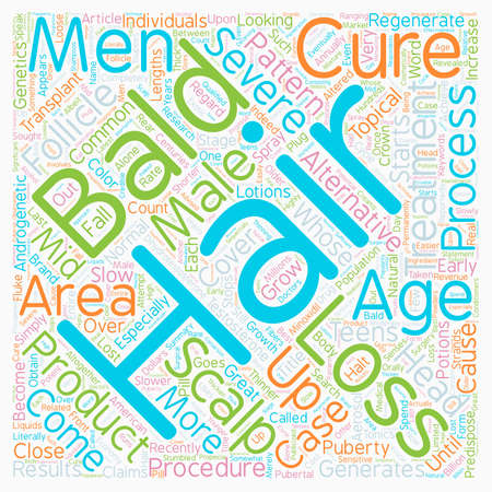 Baldness Cures and Treatments text background wordcloud concept Illustration