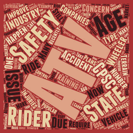 ATV safety issues 1 text background wordcloud concept