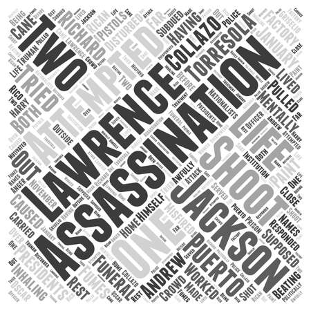 Assassinations and Attempted Assassinations of US Presidents Word Cloud Concept Ilustração