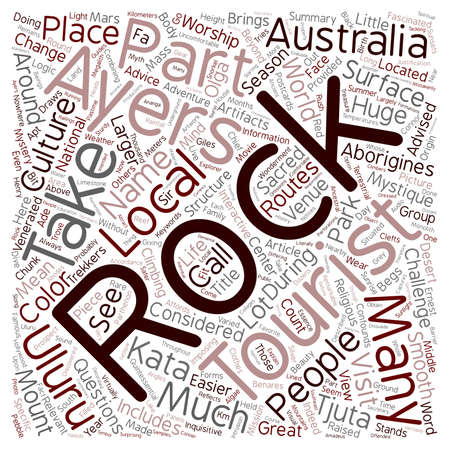 mystique: Ayers Rock Mystery in the desert text background wordcloud concept Illustration