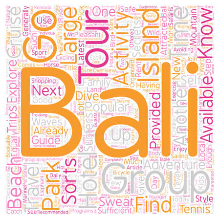 avoiding: Bali What To Do And Where To Go text background wordcloud concept