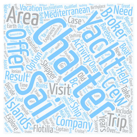 Areas To Visit On Mediterranean Yacht Charters text background wordcloud concept Illustration