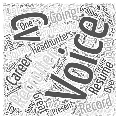 recruiters: Are you about to record your first voice CV Word Cloud Concept