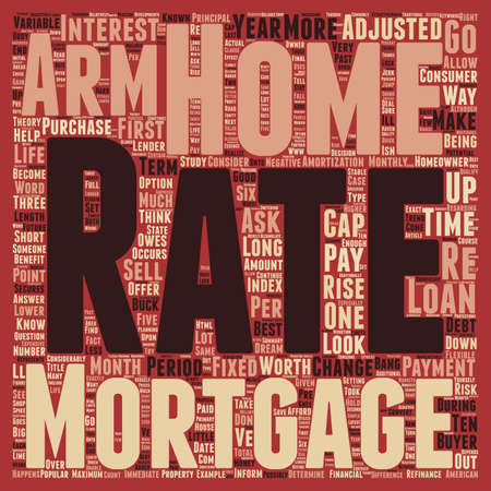 adjustable: Are Adjustable Rate Mortgages Worth It text background wordcloud concept Illustration
