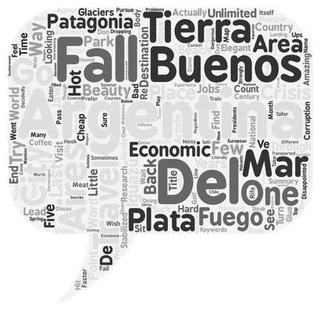 Argentine Voyages Buenos Aires Mar del Plata Iguazu Falls Tierra del Fuego et Patagonia text background wordcloud concept