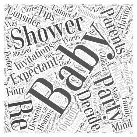 expectant: baby shower planning Word Cloud Concept Illustration