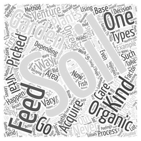 Alimentando o aspecto vital do solo um do conceito de jardinagem orgânico da nuvem da palavra