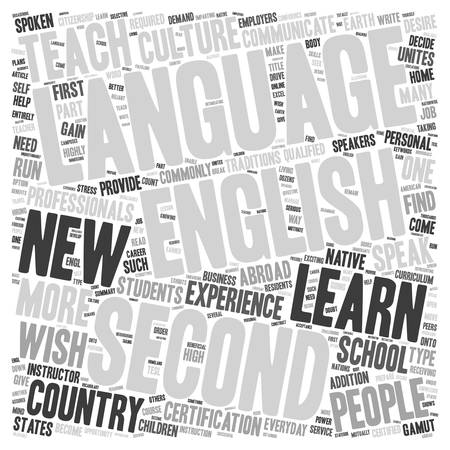 English As A Second Language text background wordcloud concept