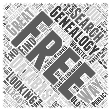 encountered: free genealogy database Word Cloud Concept