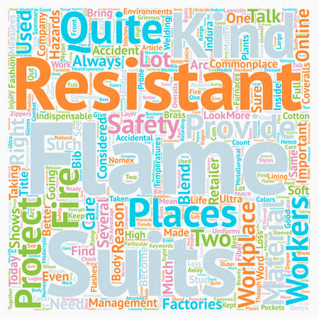 Flame Resistant Suits text background wordcloud concept