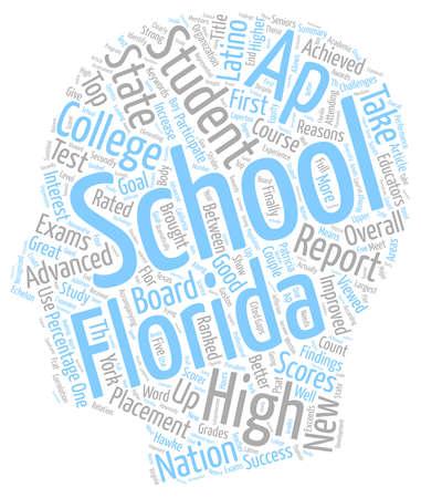 Escuelas de Florida obtener grandes Ap Grados de texto concepto de fondo wordcloud Ilustración de vector