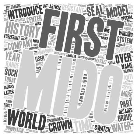 History of Mido watches text background wordcloud concept Ilustração