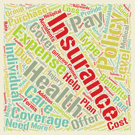 Health Insurance text background wordcloud concept Ilustração