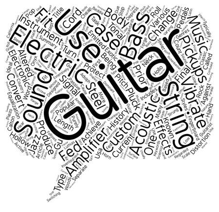 History Of The Electric Guitar text background wordcloud concept Illustration