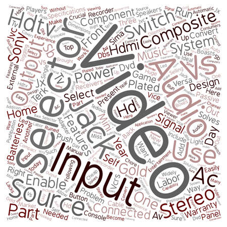 crucial: hdtv av selector 1 text background wordcloud concept Illustration