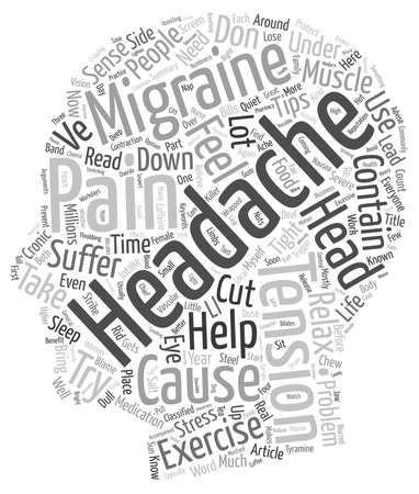 headaches: Headaches text background wordcloud concept Illustration