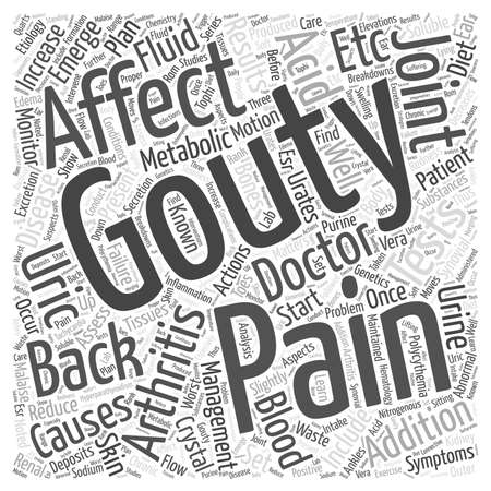 Gouty and Back Pain Word Cloud Concept