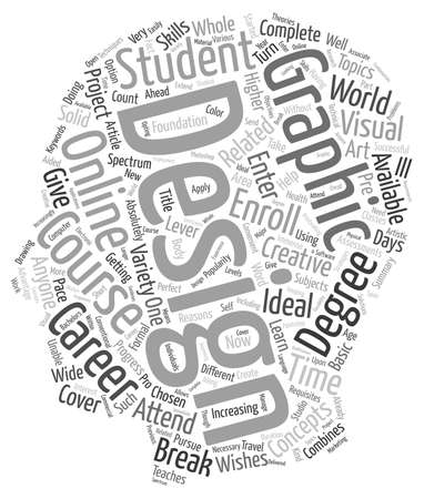 combines: Graphic Design Course text background wordcloud concept Illustration