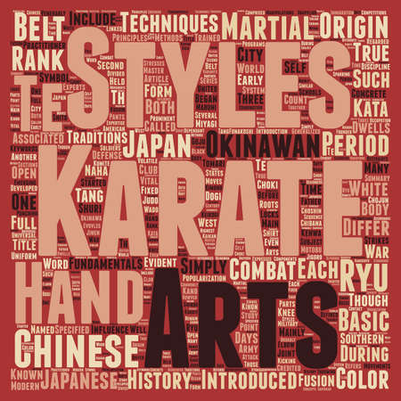 History And Fundamentals Of Karate text background wordcloud concept Illustration