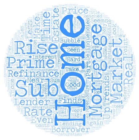 Home Mortgage Refinance Sub Prime Market Trends text background wordcloud concept Illustration