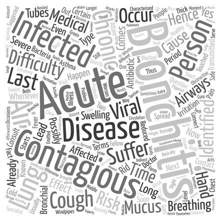 contagious: how long is bronchitis contagious text pattern wordcloud concept Illustration