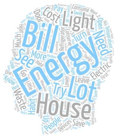 House energy ll text background wordcloud concept. Vektoros illusztráció