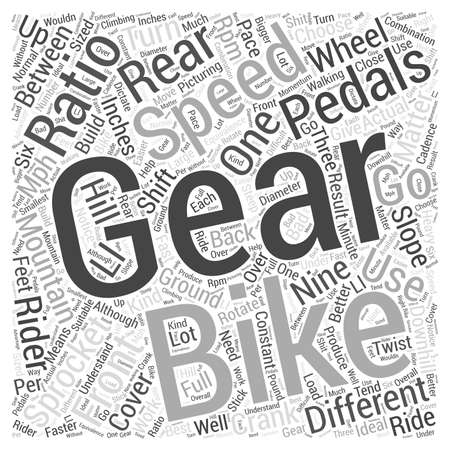 sized: How Mountain Bike Gears Work Word Cloud Concept Illustration