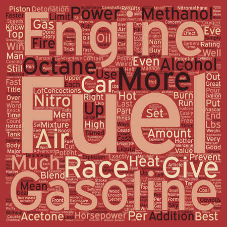 translates: Hot Fuels For Fast Cars text background wordcloud concept