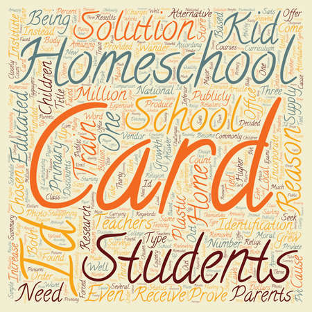 according: Homeschool ID Cards text background wordcloud concept