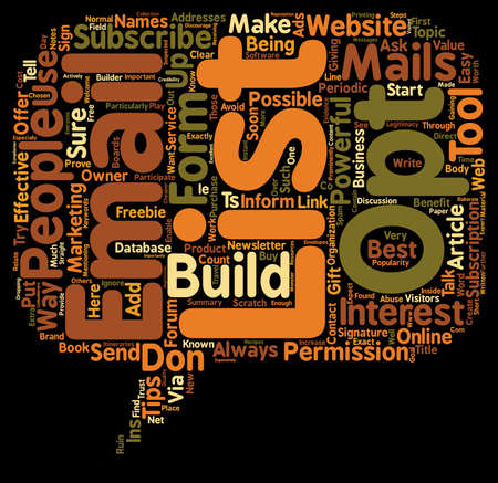 How To Build An Opt In Email List From Scratch text background wordcloud concept Vectores