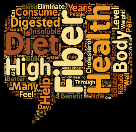 How Does a High Fiber Diet Help Your Health text background wordcloud concept Illustration