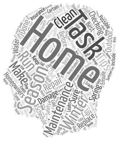 incur: Home Maintenance For Every Season And Safety Tips text background wordcloud concept