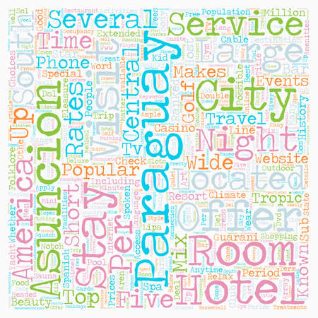 big five: Hotels Of Paraguay text background wordcloud concept