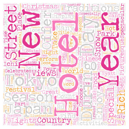Hotels In Tokyo text background wordcloud concept.