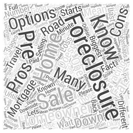 Homeowners The Pros and Cons of Pre Foreclosure Sales Word Cloud Concept.